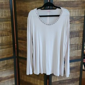Basler long sleeve top with crystals at neckline